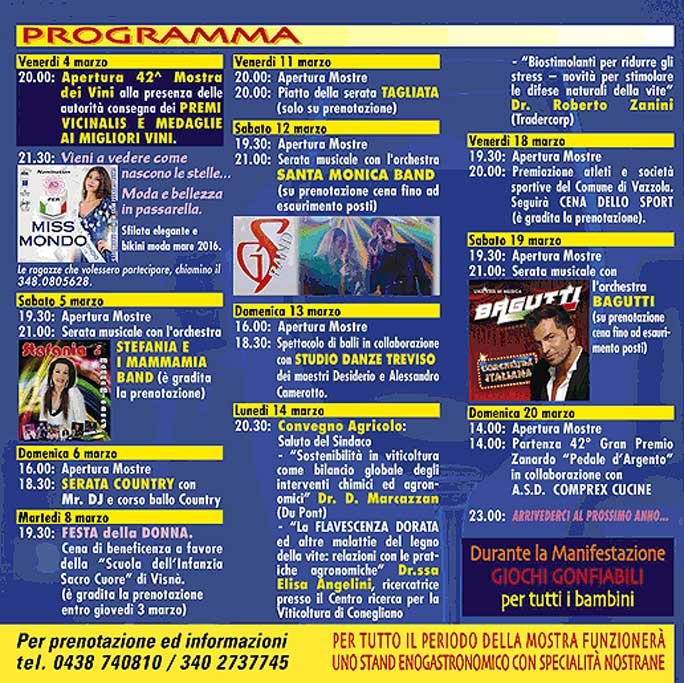 Calendario Serate Orchestra Bagutti.Vazzola Visna 42ª Mostra Dei Vini Stand Enogastronomico
