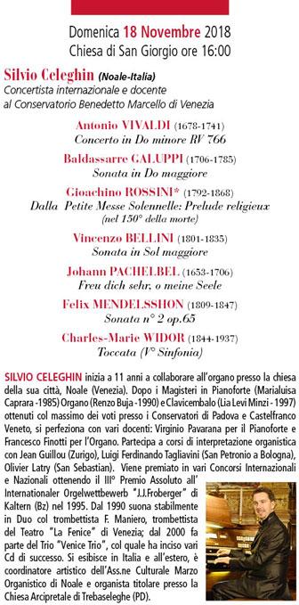 2018 FESTIVAL ORGANISTICO INTERNAZIONALE COLLALTO concerto silvio celeghin